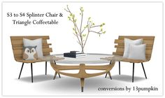 Sims 4 CC's - The Best: TS3 Splinter Chair and Triangle Coffee Table by 13...