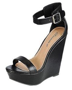 ba3687d922c37 Breckelles Womens Vivi41 Strappy Platform Wedge Sandals 8 BM US Black     See this great
