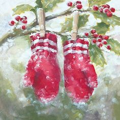 Winter Pine Cone and Berry Watercolor Christmas Card Watercolor Christmas Cards, Watercolor Cards, Watercolor Paintings, Christmas Scenes, Christmas Art, Holly Christmas, Paint Cards, Christmas Paintings, Winter Art