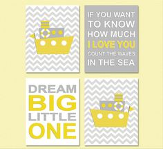 Yellow and grey nautical nursery Art Print Set - 5x7 - Kids room wall decor, unisex, neutral, boat, dream big, if you want to - UNFRAMED on Etsy, $32.00