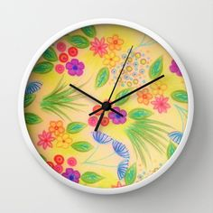 WILDFLOWER FANCY 1 - Cheerful Yellow Lovely Floral Bright Colorful Sunshine Yellow Grass Kelly Green Royal Blue Radiant Orchid Raspberry Pink Garden Pattern Girly Feminine Spring Summer Elegant Trendy Flowers Modern Home Decor Wall Clock by EbiEmporium - $30.00