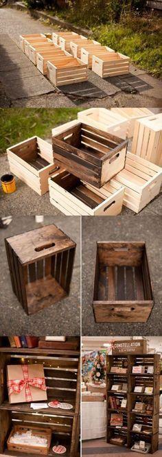 DIY Wooden Crates / Shelves / Storage ------------------------------------------- Im . - DIY Wooden Crates / Shelves / Storage ——————————————- Reference image f - Repurposed Furniture, Diy Furniture, Furniture Projects, Antique Furniture, Repurposed Items, Furniture Styles, Bedroom Furniture, Wooden Crate Furniture, Restoring Furniture