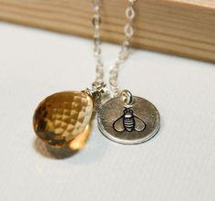 Honey Bee Necklace with Hand Stamped Bee by margosoriginals