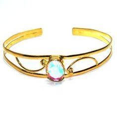 Rainbow moonstone Gemstone Brass Bangle