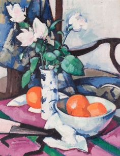 SAMUEL JOHN PEPLOE R.S.A. (SCOTTISH 1871-1935) STILL LIFE WITH ROSES AND ORANGES 51cm x 41cm (20in x 16in)  Estimate: £200000  - 300000