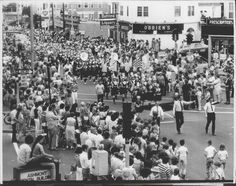 Dorchester Day parade in Peabody Square, Ashmont (1970's?)