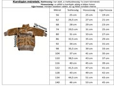 Image result for baba mérettáblázat Diy Crafts Knitting, Diy And Crafts Sewing, Knitting For Kids, Diy Crochet Cardigan, Crochet Baby, Knit Crochet, Diy Crafts Quotes, Sewing Baby Clothes, Unique Baby Gifts