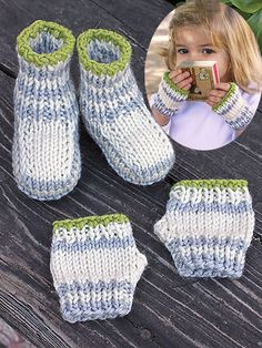 Free Knitting Pattern for Fingers and Toes Baby Mitts and Booties - #ad Free with registration at Annie's. From Itty Bitty Baby Projects. Crochet version also available