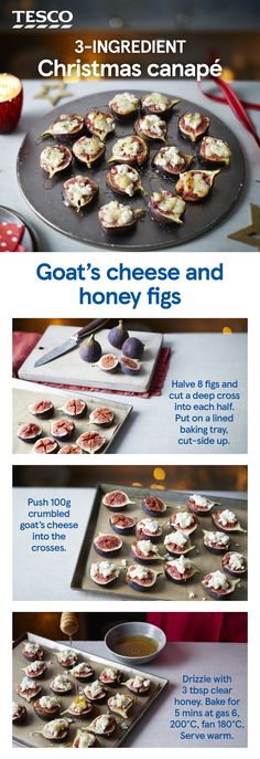 Turn a classic combination of sweet and savoury figs, honey and goat's cheese into a party nibble with this easy canapé idea. Ready in minutes, they'll be a definite crowd-pleaser. Give it a go and add a photo of your creation! Healthy Party Snacks, Nibbles For Party, Easy Party Food, Party Food And Drinks, Xmas Food, Christmas Cooking, Christmas Canapes, Christmas Nibbles, Canapes Recipes