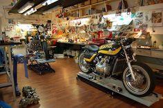 Legit looking garage. Even with the hardwood flooring.