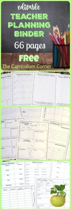 FREE Editable Teacher Planning Binder - 66 editable pages from The Curriculum Corner This is the teacher binder for you! It has been designed to include everything you need to get your school year started on an organized note. Classroom Organisation, Teacher Organization, Teacher Tools, Teacher Resources, Organized Teacher, Classroom Libraries, Teachers Toolbox, Classroom Management, Classroom Ideas