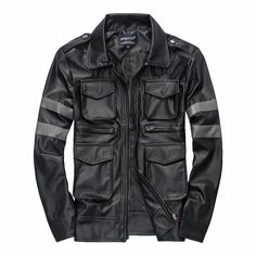 Leather & Suede Men's Slim Multi-pocket leather jackets New fashion male outwear Motorcycle jackets Size M-3XL