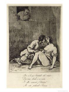 """Two Lovers in a Courtyard, 1880's    by Francisco de Goya   """" Que es lo que haciendo ahí estás ? Dijo una abuela a su nieta Y ella contestó ¡ Puñeta ! Me está jodiendo Tomás."""
