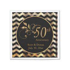 50th Golden Wedding Anniversary | DIY Text Paper Napkin ...