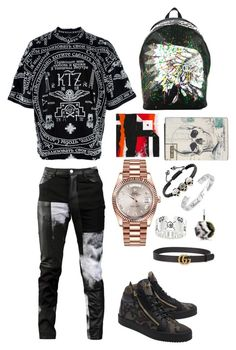 Heavy.. by bashir-adekunle on Polyvore featuring polyvore, Kokon To Zai, Any Old Iron, Giuseppe Zanotti, Rolex, Philipp Plein, Alexander McQueen, Dior Homme, Gucci, Fendi, men's fashion, menswear and clothing