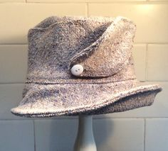 Palest blue and oatmeal tweed wool  hat from Lojango Design