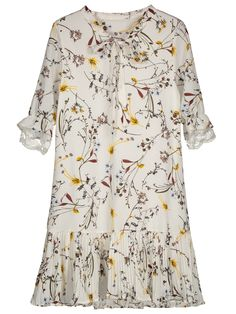 Pussy Bow Tie Floral Pleated Hem Dress - WHITE L