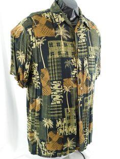 M. E. Sport Collection XL Black Hawaiian Print Shirt Geodesic With Palm Trees  #Caribbean #Hawaiian