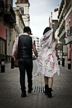 Zombie Wedding Dress Costume With Blood Splatter By