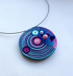 blue pendant by Dagmar Kakáčová, polymer clay jewerly inspiration Eva Haskova