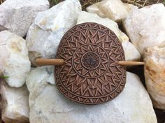 Circle shaped hand carved leather hair by DIONESAMBROZIUS on Etsy