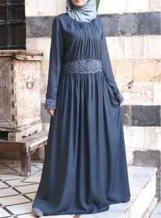 Modal Lace Gathered Abaya
