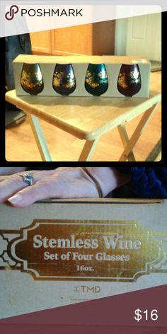 Stemless Wine glasses set of 4 16 oz Gold purple green & burgandy Other