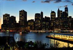 New York City Skyline just before dark.  New York Photography by Diane Greene Lent