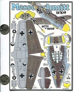 German Messerschmitt Fiddler's Green Paper Plane Cut-out Model Card