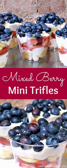 Mixed Berry Mini Trifles recipe Learn how to make easy mini trifle desserts with layers of strawberries blueberries cream cheese filling ladyfingers Serve these individu. Mini Desserts, 4th Of July Desserts, Trifle Desserts, Individual Desserts, Layered Desserts, Köstliche Desserts, Dessert Recipes, Easy Blueberry Desserts, Desserts With Berries