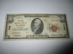 $10 1929 SEAFORD DELAWARE DE NATIONAL CURRENCY BANK NOTE BILL CH #795 FINE