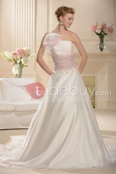 Aラインワンショルダーチャペル床まで届く長さカラーウェディングドレス