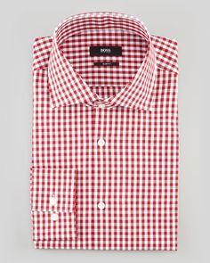 Hugo Boss Slim-Fit Check Dress Shirt, Red