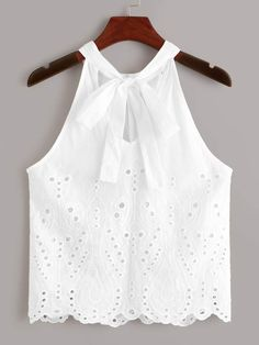 To find out about the Eyelet Embroidered Knot Top at SHEIN, part of our latest Tank Tops & Camis ready to shop online today! Trendy Outfits, Girl Outfits, Cute Outfits, Boho Fashion Summer, Kids Fashion, Top Knot, Cute Tops, Dress Patterns, Baby Dress