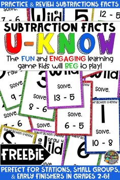 Students love playing this FREE U-Know game for fun REVIEW of subtractions facts or for test prep. It's a perfect activity for any small group or station, and great for early finishers. Subtraction Facts U-Know is a fun learning game played similar to UNO except if you get an answer wrong, you have to draw two! Students will beg to practice subtraction facts in this way and it will help them with their fact fluency! Available in MANY other topics, too!