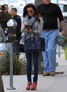 Grey, skinnies, pink heels, navy bag