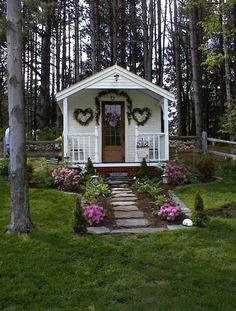 Cabins and Cottages: The cutest She Shed cottage includes quaint . Prefab Cottages, Prefab Cabins, Cabins And Cottages, Prefab Tiny Houses, Garden Cottage, Cozy Cottage, Home And Garden, Shed Decor, Backyard Sheds