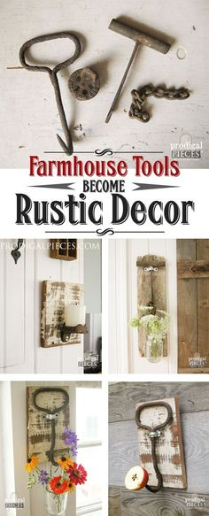 Rusty old farmhouse tools are perfect paired with reclaimed barn wood to make functional decor. Just grab a hanger, Ball jar, and a DIY attitude. by Prodigal Pieces http://www.prodigalpieces.com #prodigalpieces
