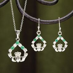 Emerald and CZ Claddagh Earrings at Creative Irish Gifts.