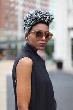 sunnies, turban, and such beauty Turban Mode, Curly Hair Styles, Natural Hair Styles, African Head Wraps, Head Wrap Scarf, Looks Street Style, Turban Style, Bad Hair Day, Scarf Hairstyles