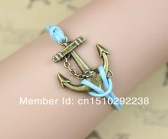 Ancient bronze anchor charm bracelet, light blue wax rope, ocean gift $0.99
