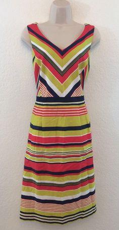 PRESTON & YORK Multi Color Chevron Striped Fit Flare Cotton Tea Dress 10 #PrestonYork #TeaDress #Casual