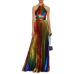 Rosie Assoulin Rainbow Lame Pleated Halter Gown ($6,990) ❤ liked on Polyvore featuring dresses, gowns, cut out gown, brown dresses, rainbow dresses, cutout dresses and halter tops