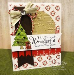 Hand stamped Christmas card by Susan Liles using the Holiday Greetings and Christmas in the Air stamp sets from Verve. #vervestamps #cardmaking