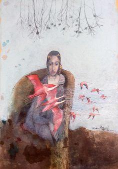 Katarína Vavrová / Play of spirit/  Painting on japan paper