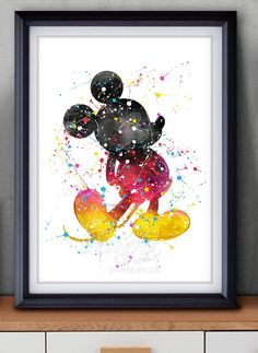 Disney Mickey Mouse Watercolor Art Poster Print - Wall Decor - Watercolor Painting - Artwork - Home Decor - Kids Decor - Nursery Decor by GenefyPrints on Etsy https://www.etsy.com/au/listing/252390412/disney-mickey-mouse-watercolor-art