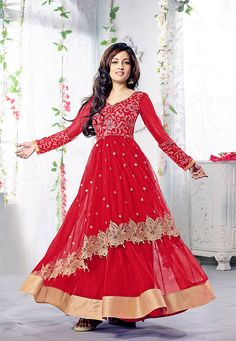 #Red Net Double Layered Abaya Style #ChuridarKameez