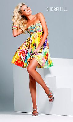Short Print Party Dress via simplydresses.com ($300). LOVE the dress - gorgeous colors! Not so fond of the price.