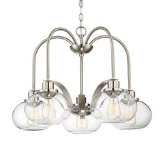 Quoizel Trilogy 26.1-in 5-Light Brushed Nickel Clear Glass Shaded Chandelier