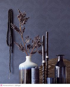 Brewster Wallcoverings Kairo Dark Blue Geometric 376069 Wallpaper 376069 Brewster Wallcoverings Blues Geometric Wallpaper Modern Classics Wallpaper Textured Wallpaper, Non Woven, Easy to clean , Easy to wash, Easy to strip Geometric Wallpaper Modern, Textured Wallpaper, Dining Room Blue, Dining Room Walls, Interior S, Interior Decorating, Wallpaper Collection, Kairo, Dining Room Wallpaper